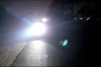 طريق في بلبيس يعاني من الظلام
