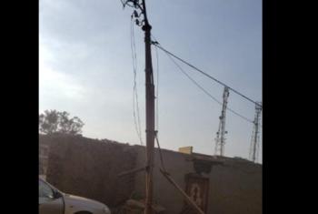 ديرب نجم| عمود كهرباء مربوط بحبال يهدد أهالي قرية