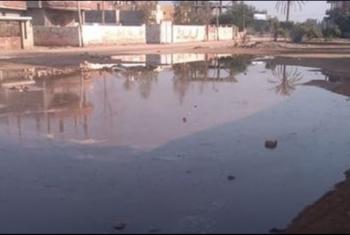 انفجار ماسورة مياه بنزلة العرين في أبوكبير