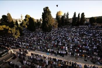 الآلاف يؤدون صلاة عيد الأضحى في ساحات المسجد الأقصى المبارك